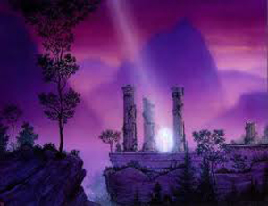 purple mountains and ruins